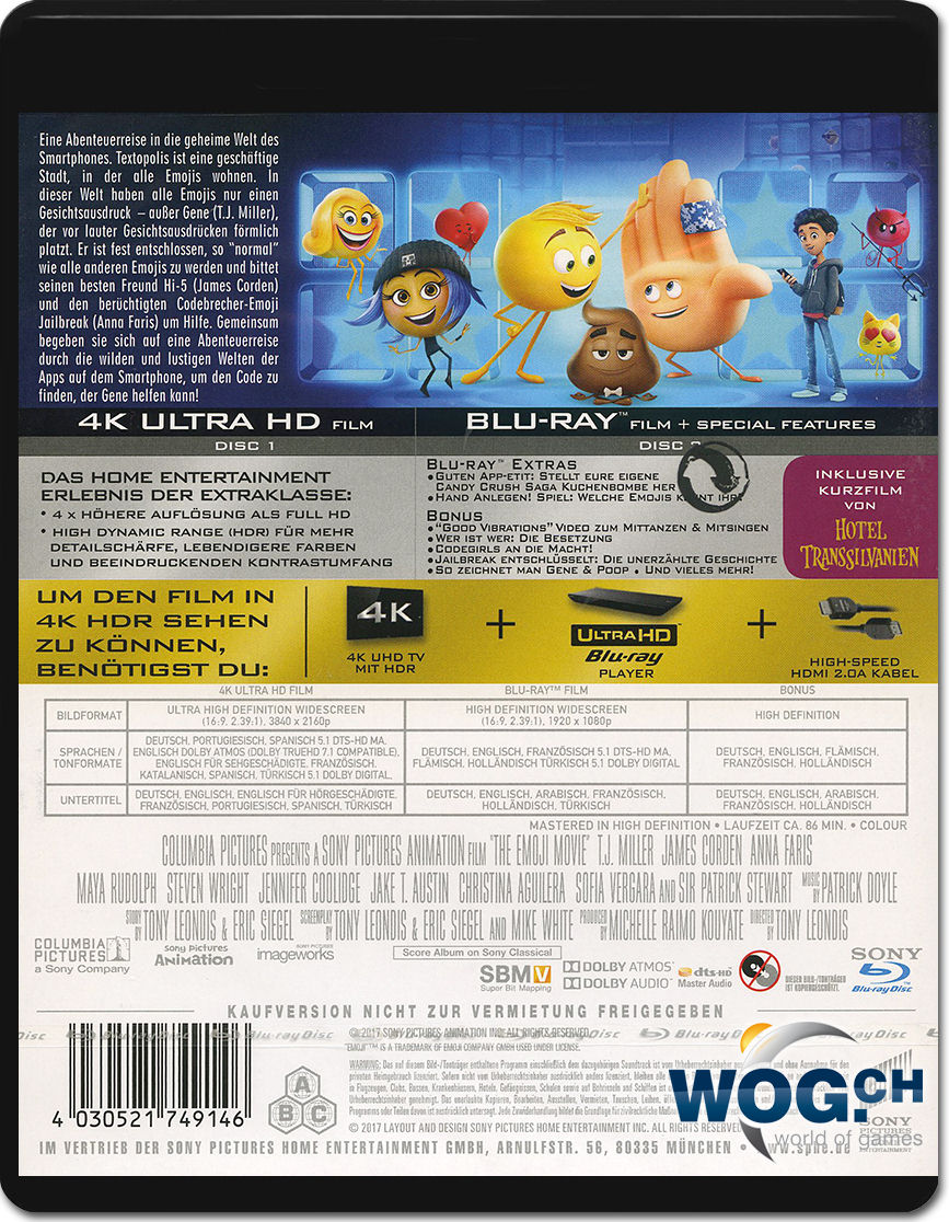 Emoji Der Film Blu Ray Uhd 2 Discs 4k Ultra Hd Filme World Of