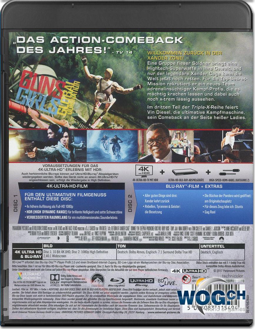 Xxx Die R 252 Ckkehr Des Xander Cage Blu Ray Uhd 2 Discs