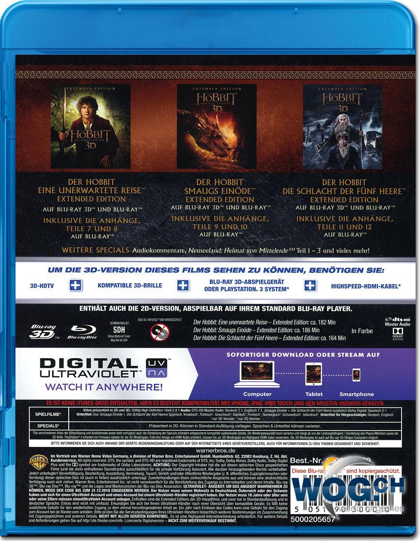 Der Hobbit Extended Trilogie Box Blu Ray 3d 15 Discs Blu Ray 3d