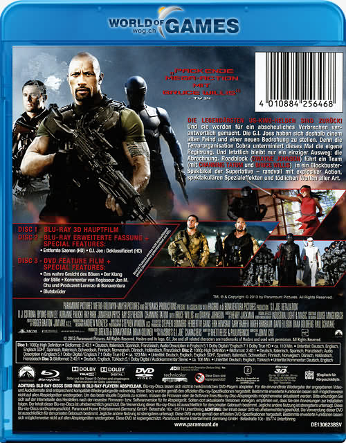 g i joe 2 die abrechnung blu ray 3d 3 discs blu ray 3d filme world of games. Black Bedroom Furniture Sets. Home Design Ideas