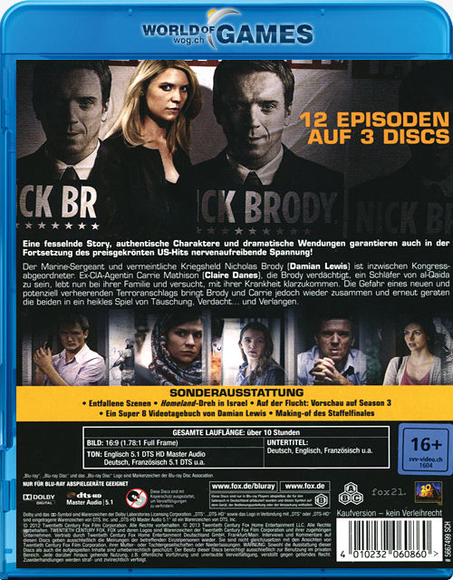 Homeland Staffel 2 Blu Ray 3 Discs Blu Ray Filme World Of Games