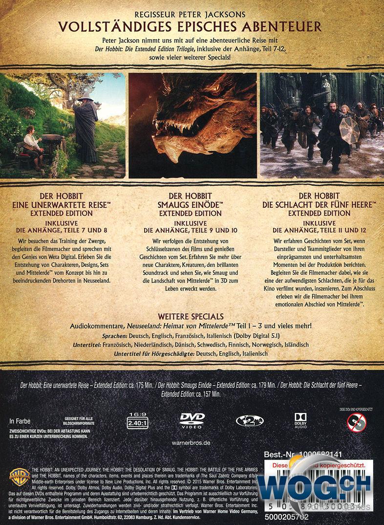 Der Hobbit Extended Trilogie Box 15 Dvds Dvd Filme World Of