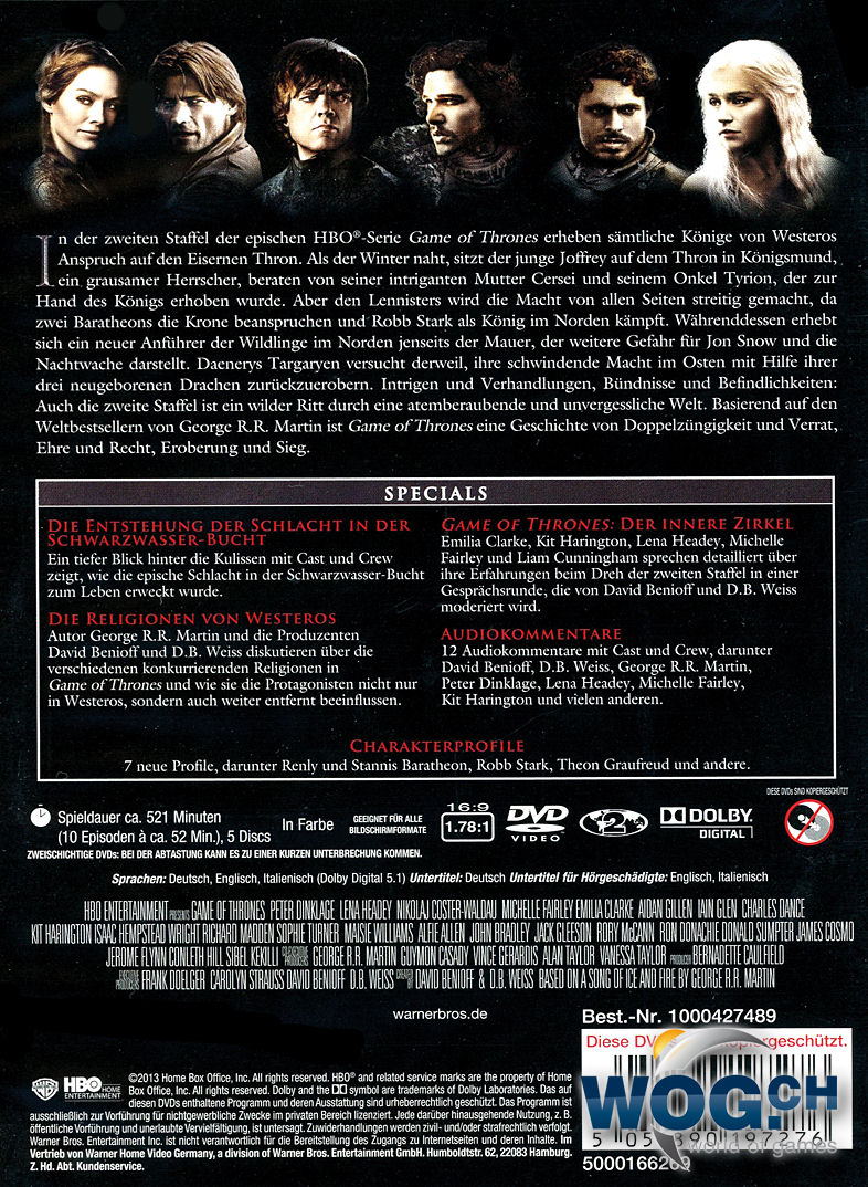 Game Of Thrones Staffel 2 5 Dvds Dvd Filme World Of Games