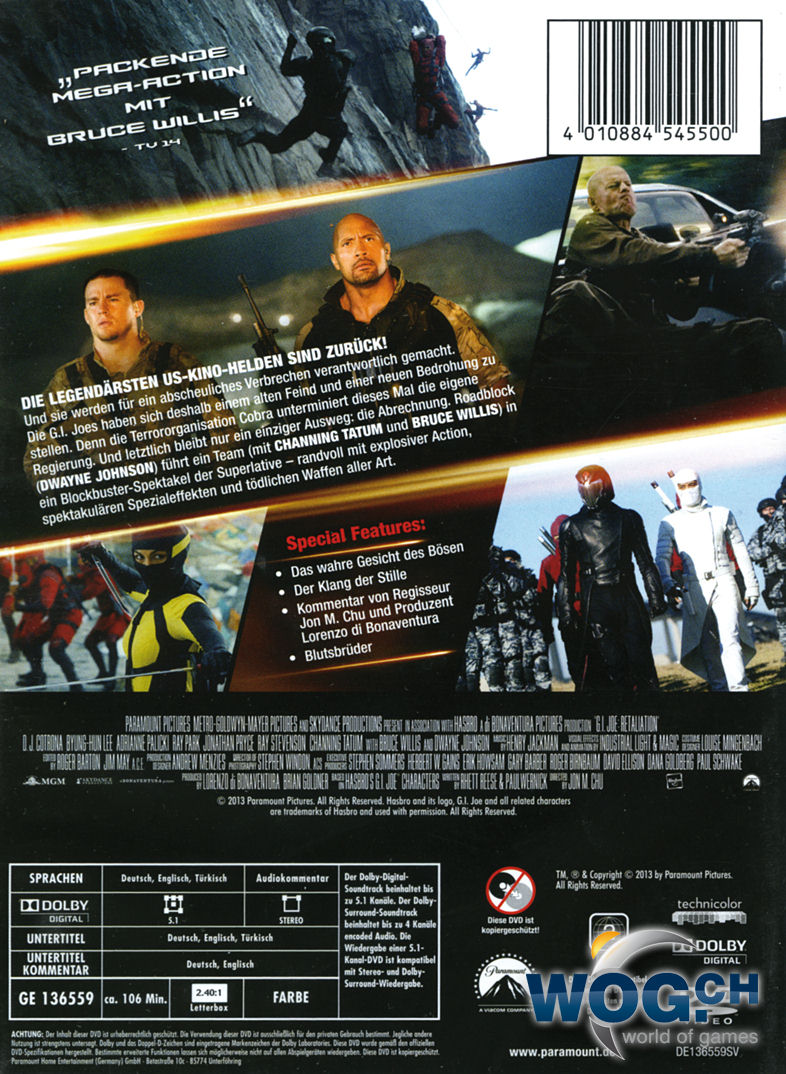 g i joe 2 die abrechnung dvd filme world of games. Black Bedroom Furniture Sets. Home Design Ideas