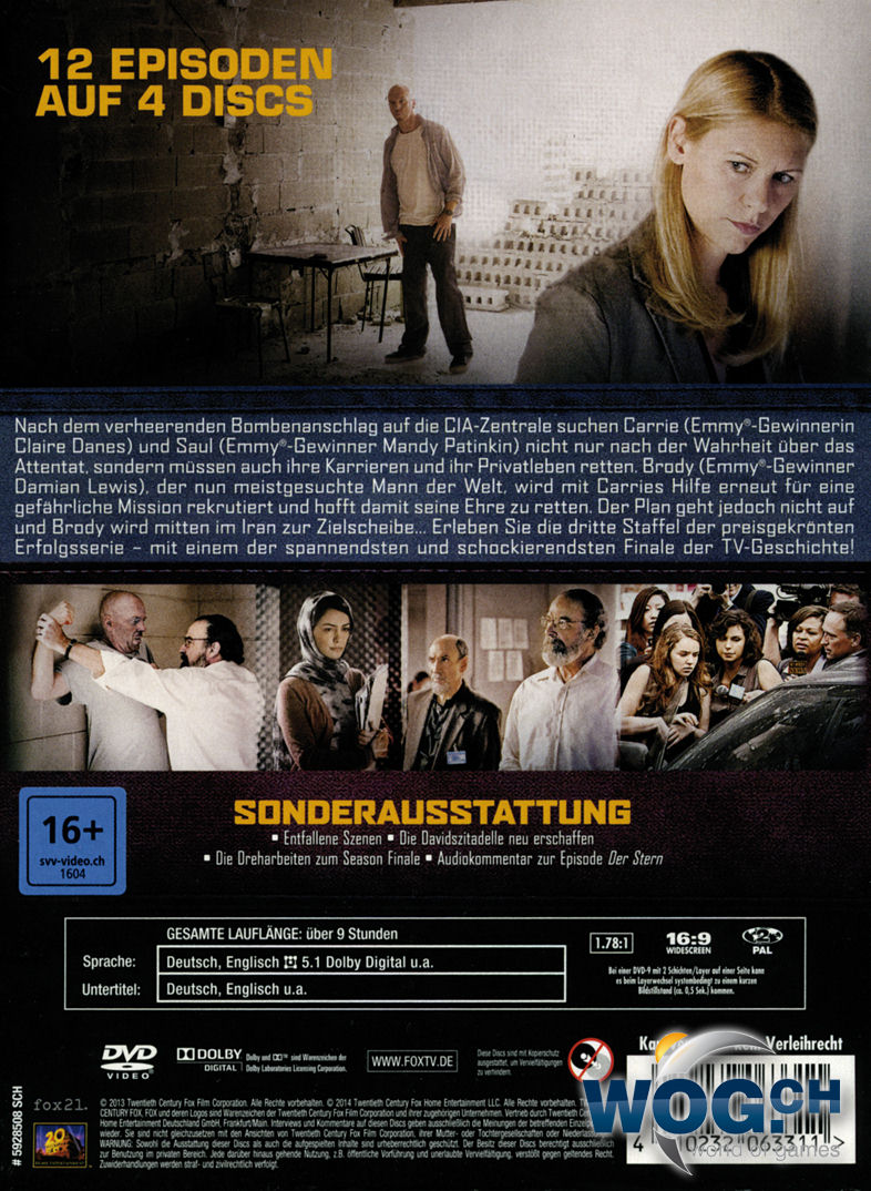 Homeland Staffel 3 4 Dvds Dvd Filme World Of Games