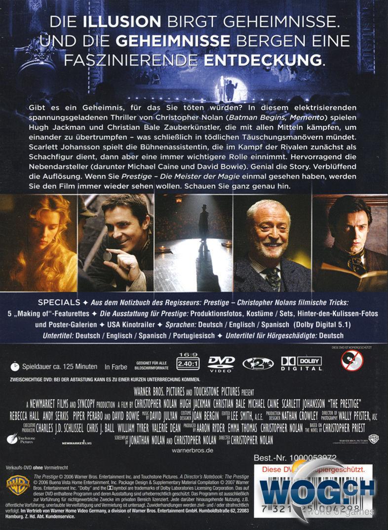 Prestige Die Meister Der Magie Dvd Filme