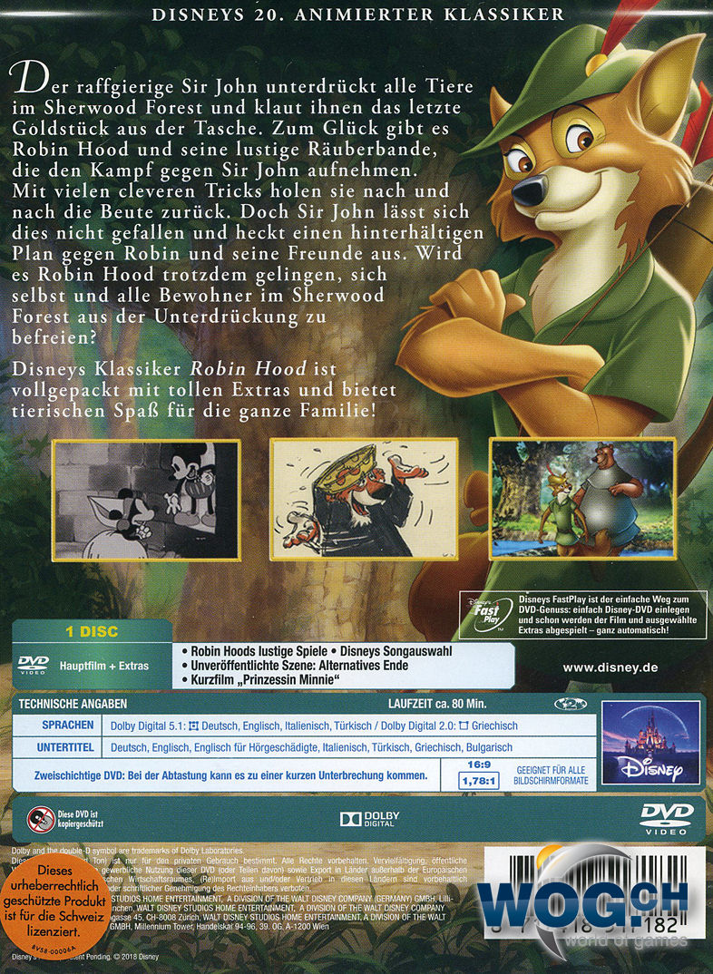 Robin Hood Disney Classics Dvd Filme World Of Games