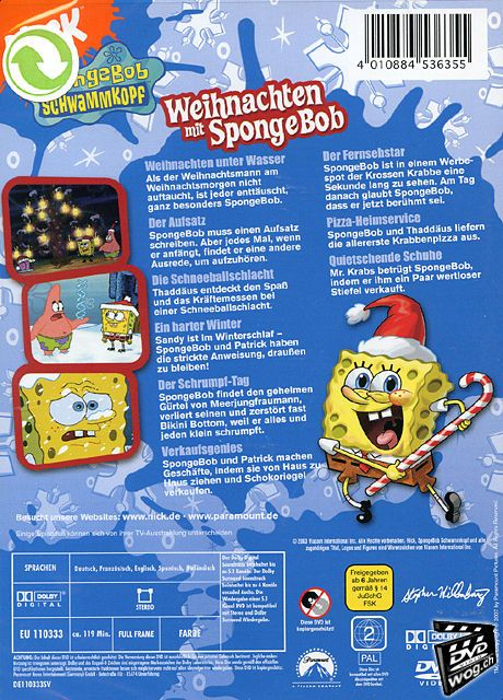 spongebob schwammkopf weihnachten mit spongebob dvd. Black Bedroom Furniture Sets. Home Design Ideas