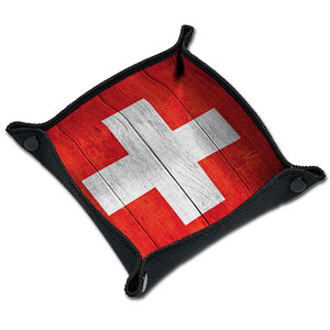 Würfelteller -Wood Swiss Flag-