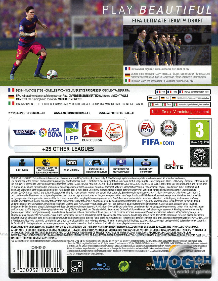Fifa 16 Playstation 4 World Of Games Sony Ps4 Game 17