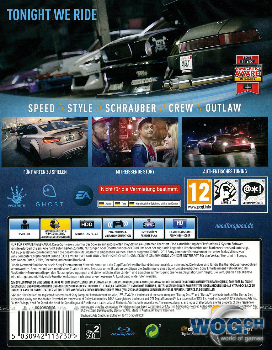 Need For Speed Playstation 4 O World Of Games