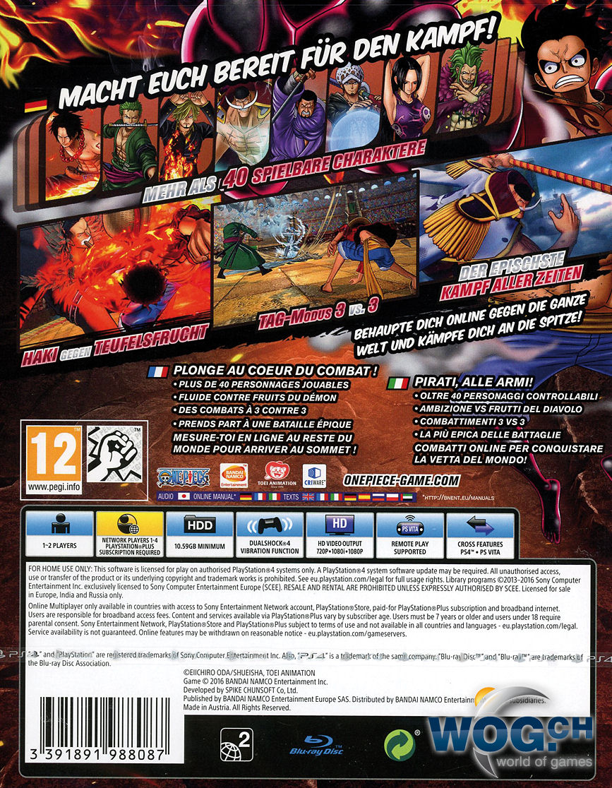 One Piece Burning Blood Playstation 4 World Of Games Sony Ps4