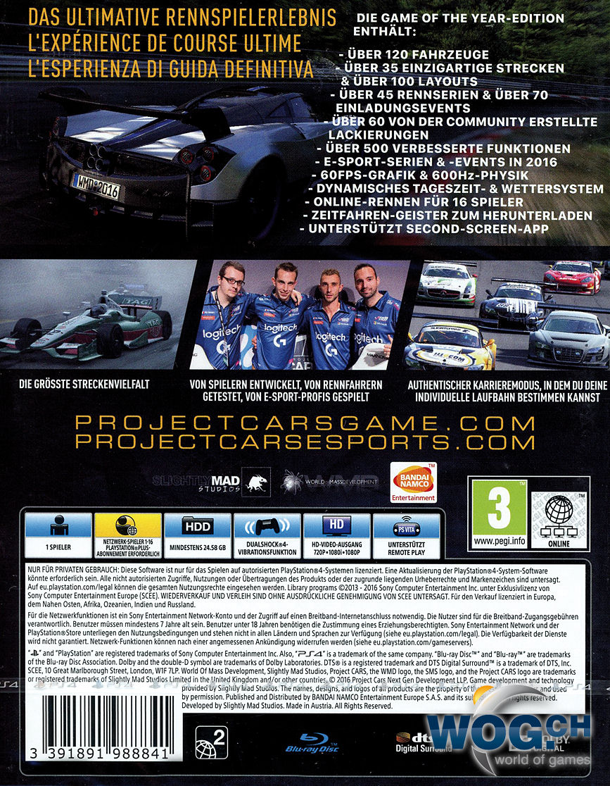 Project Cars Back Cover Xbox