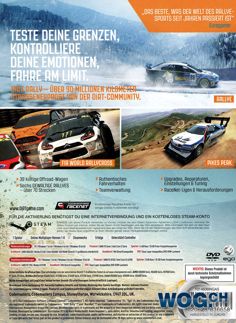 DiRT Rally PC Games O World Of