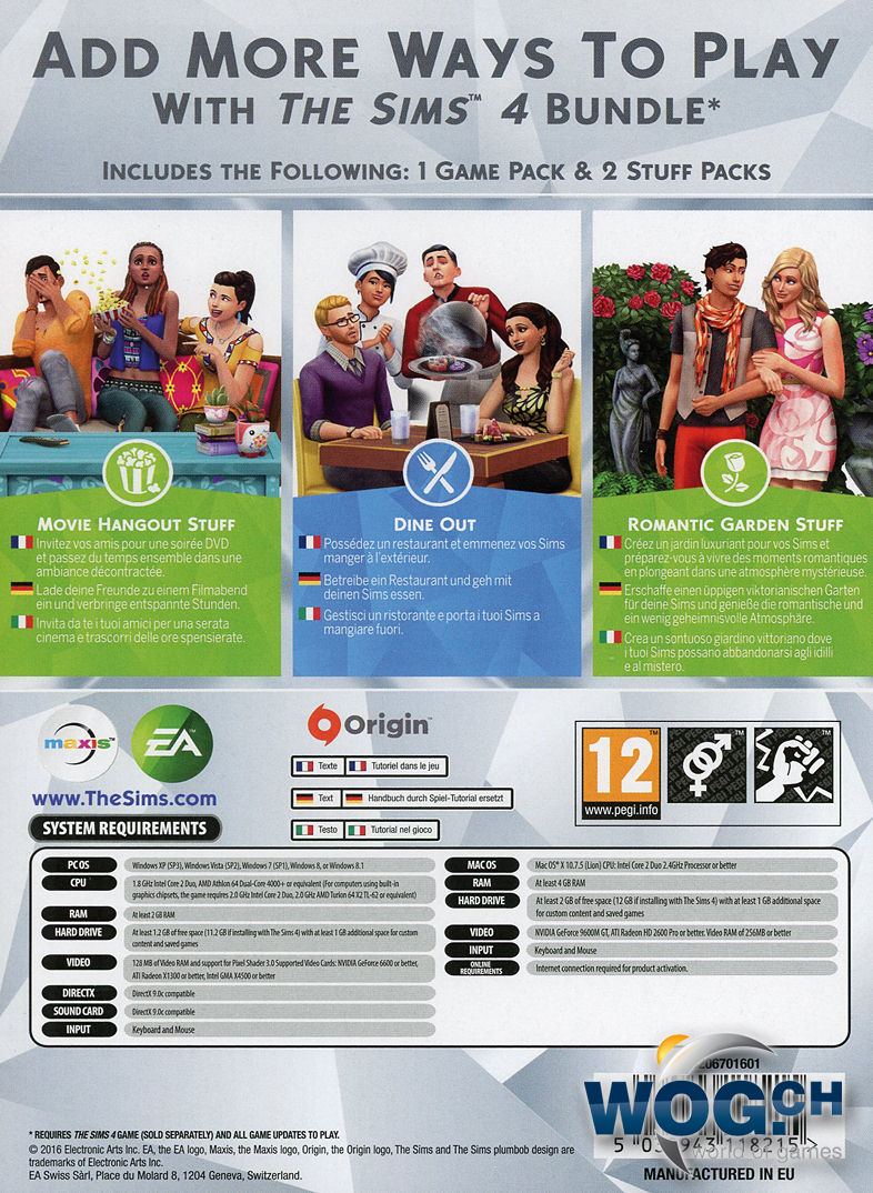 die sims 4 bundle 3 code in a box pc games world of. Black Bedroom Furniture Sets. Home Design Ideas