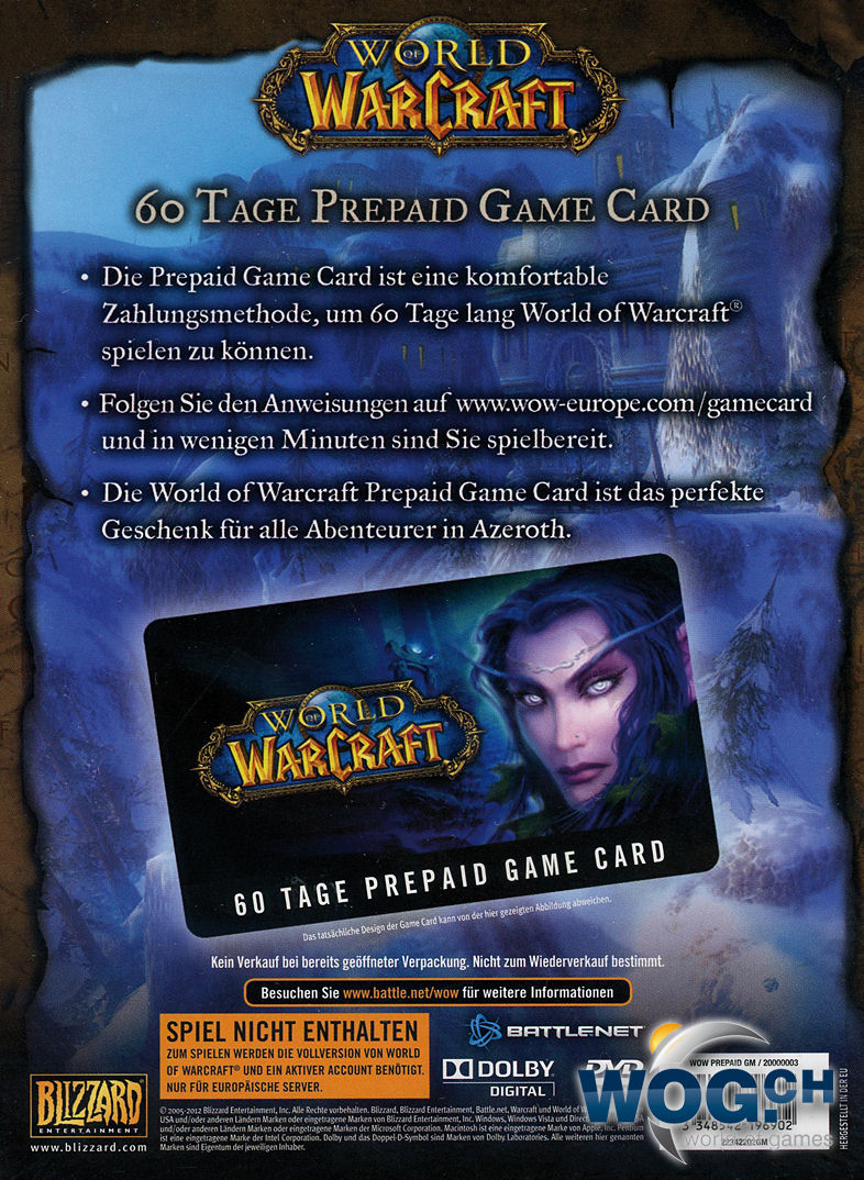World Of Warcraft Gametime Card 60 Tage Pc Games World Of Games