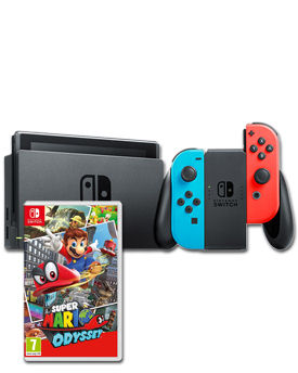 Nintendo Switch - Super Mario Odyssey Set -Red/Blue-