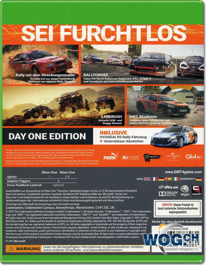 dirt 4 day 1 edition xbox one world of games. Black Bedroom Furniture Sets. Home Design Ideas