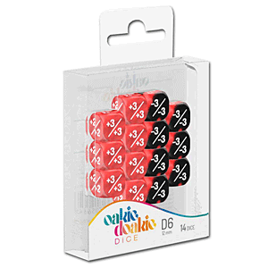 Dice D6 Positive & Negative Marble / Gemidice - Red (Set of 14 Dice)