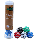 Dice Set Solid - 20 Sided Dice (Set of 5 Assorted Dice)