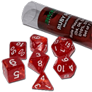 Dice Set Marbled - Ruby Red (Set of 7 16mm Dice)