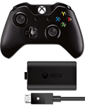 Controller Wireless Xbox One + Play & Charge Kit -Black- (Microsoft)