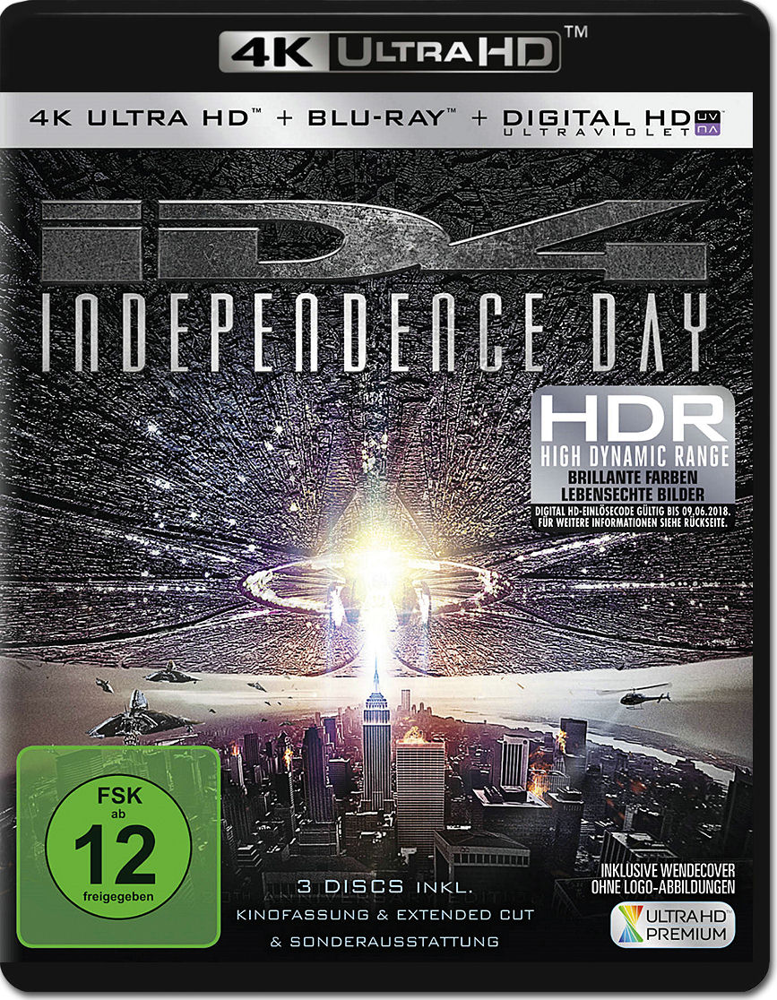 independence day 1 extended cut bluray uhd 2 discs