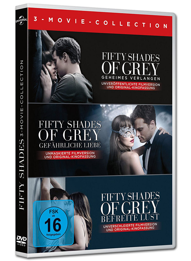 fifty shades of grey 3 movie collection 3 dvds dvd. Black Bedroom Furniture Sets. Home Design Ideas