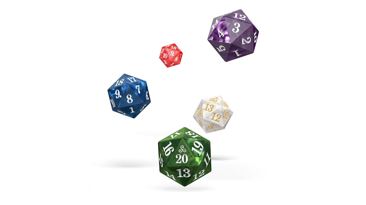 "Screenshot ""Dice D20 - Spindown Set Marble Selection (Set of 5 Dice)"""